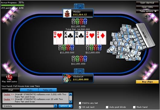 Player wins at 888 Poker