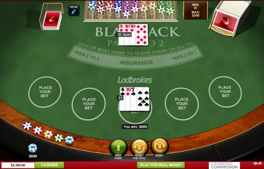 Ladbrokes Blackjack View